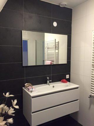 zwarte vloertegel 30x60 cm in de badkamer